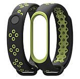 Силиконовый ремешок Primo Perfor Sport для фитнес-браслета Xiaomi Mi Band 3 - Black&Green, фото 3