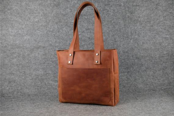 """Женская сумка """"Модель №34 мини"""" Винтажная кожа цвет Коньяк"""