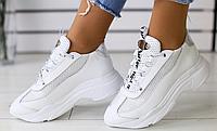 Кроссовки дышащие белые кожаные с сеткой, фото 1