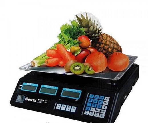 Весы электронные торговые BITEK 55кг аккумулятор 6В YZ-208TP, фото 2