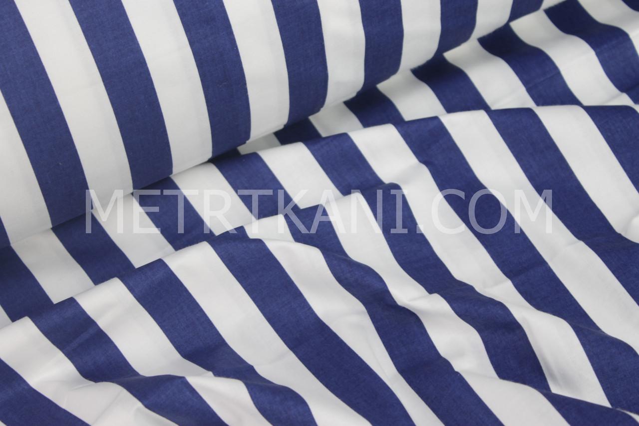 """Хлопковая ткань синяя  """"Широкая полоска""""  2.5см  № 1070"""