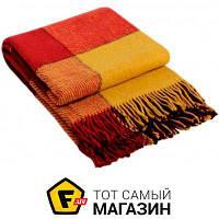 Плед полуторное 140 x 200 см - легкое - Vladi Эльф 140x200см, желтый/красный/бордовый (4050) бордовый