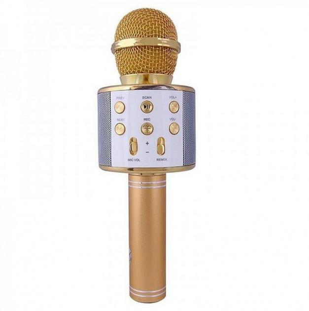 Беспроводной микрофон-караоке Bluetooth WS858 Karaoke Gold