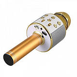 Беспроводной микрофон-караоке Bluetooth WS858 Karaoke Gold, фото 3