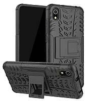 Чехол Armored для Xiaomi Redmi 7A противоударный бампер с подставкой черный