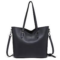 Стильная вместительная сумка женская черная из экокожи опт, фото 1