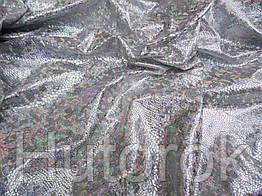 Трикотаж голограмма (серебро на белом)