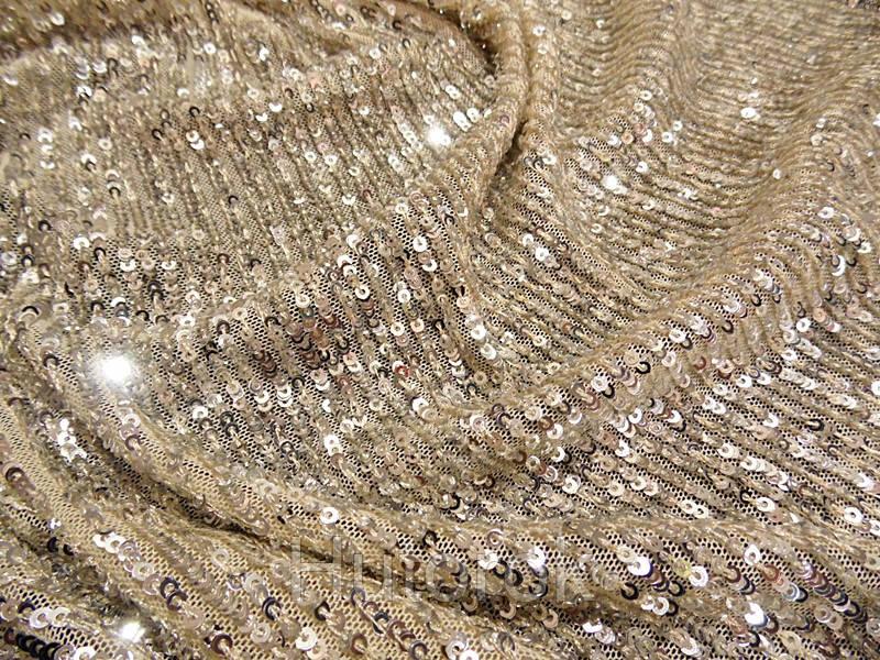 Пайеточная ткань гофре (песочный)