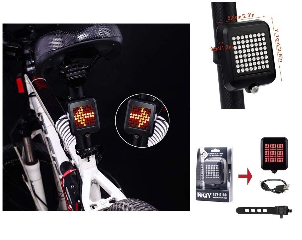 Задний велосипедный фонарь с поворотником и лазерной разметкой AQY-0100