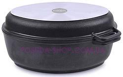 Гусятница Биол антипригарная с крышкой-сковородой 6 л Г601П