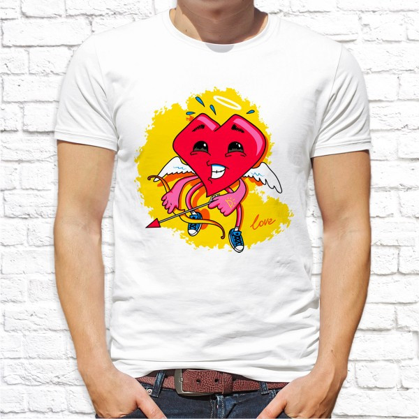 """Мужская футболка с принтом Сердце с луком """"Love"""" Push IT"""