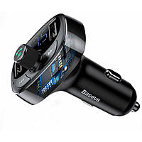 Автомобильное зарядное устройство + FM трансмиттер Baseus S-09 T-Typed Bluetooth MP3 Black