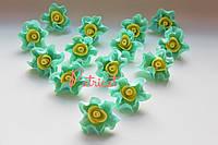 Цветы Розы Тиффани-желтый из фоамирана (латекса) 3 см 10 шт/уп