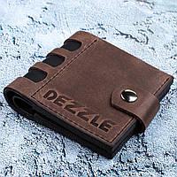 Портмоне кожаное на кнопке Dezzle (2606 коричневый)