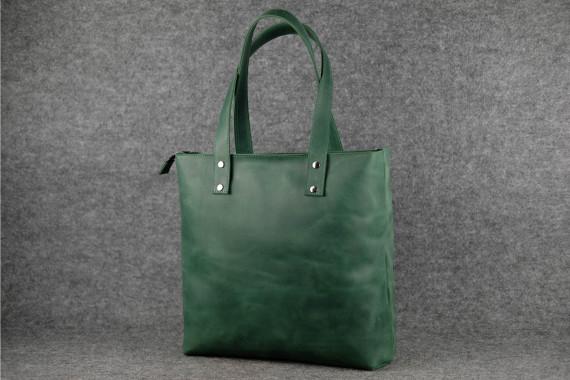 Шоппер Большой Винтажная кожа цвет Зеленый