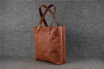 """Женская сумка """"Шоппер большой"""" Винтажная кожа цвет Коньяк"""