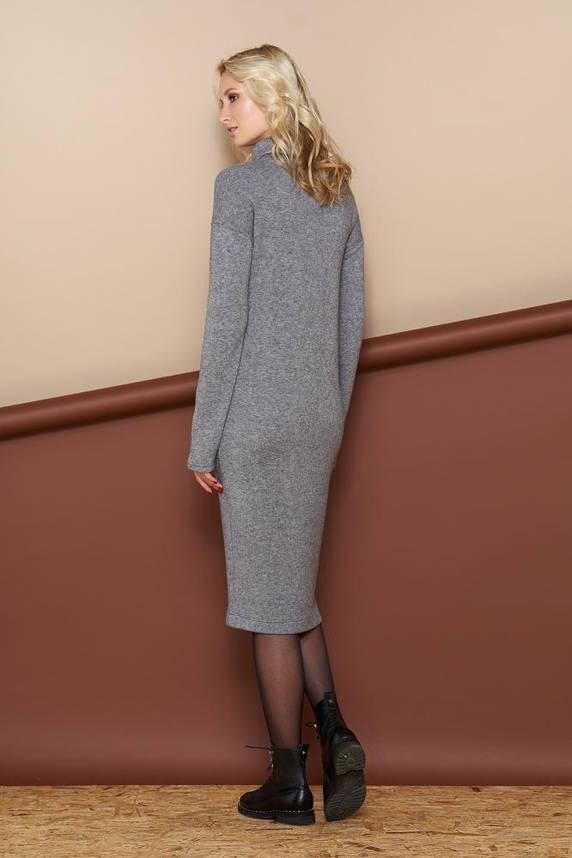 Теплое осеннее платье-гольф из ангоры серое, фото 2