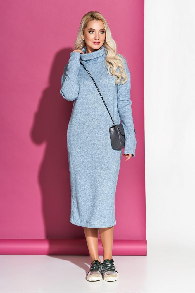 Теплое платье-гольф из ангоры трикотажное голубое