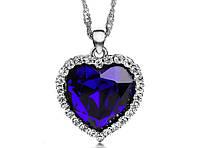 🔝 Сердце океана, бижутерия, цепочка, кулон. Красивое, украшение на шею. Голубой, кулон для влюбленных | 🎁%🚚