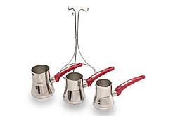 Набор турок из нержавеющей стали для заваривания кофе Yaprak 200/270/330 мл 3CZV082