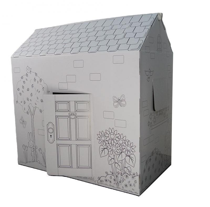 🔝 Раскраска домик, 94х100х56 см. Дерево и цветы, это, картонный домик, для детей. Доставим по Украине   🎁%🚚