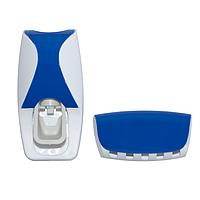 🔝 Дозатор зубной пасты с держателем для щеток, Jinxin-300, диспенсер, синий   🎁%🚚