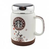 🔝 Чашка starbucks, Старбакс, кружка старбакс, с металлической крышкой, с доставкой по Киеву и Украине | 🎁%🚚