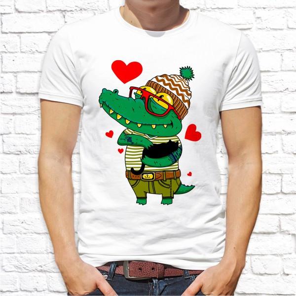"""Мужская футболка с принтом """"Влюбленный крокодил"""" Push IT"""