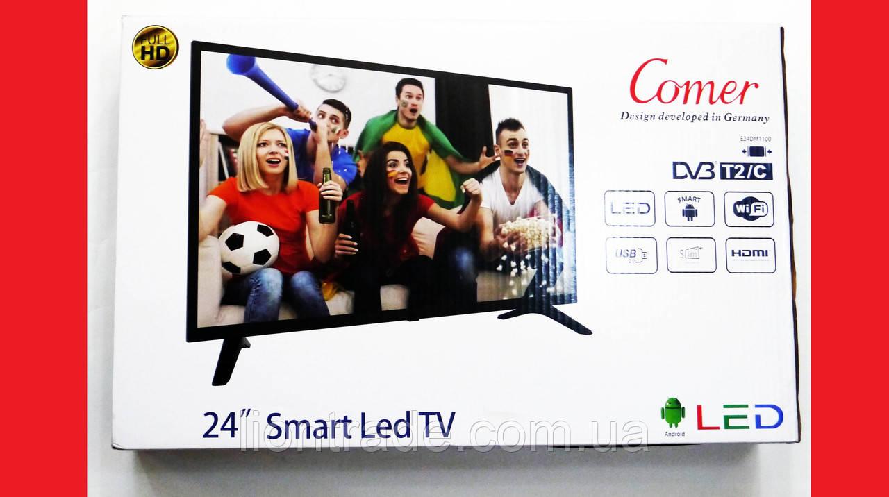 "LCD LED Телевізор Comer 24"" Smart TV, WiFi, 1Gb Ram, Rom 4Gb, T2, USB/SD, HDMI, VGA, Android 4.4"
