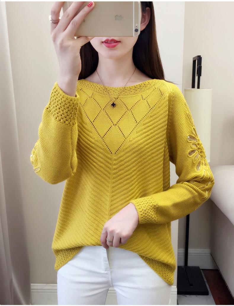 Вязаный свитер с цветком на плечах 44-46 (в расцветках)