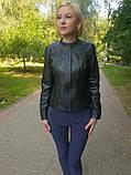 Женская кожаная куртка с коротким воротником, фото 2