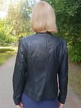Женская кожаная куртка с коротким воротником, фото 3