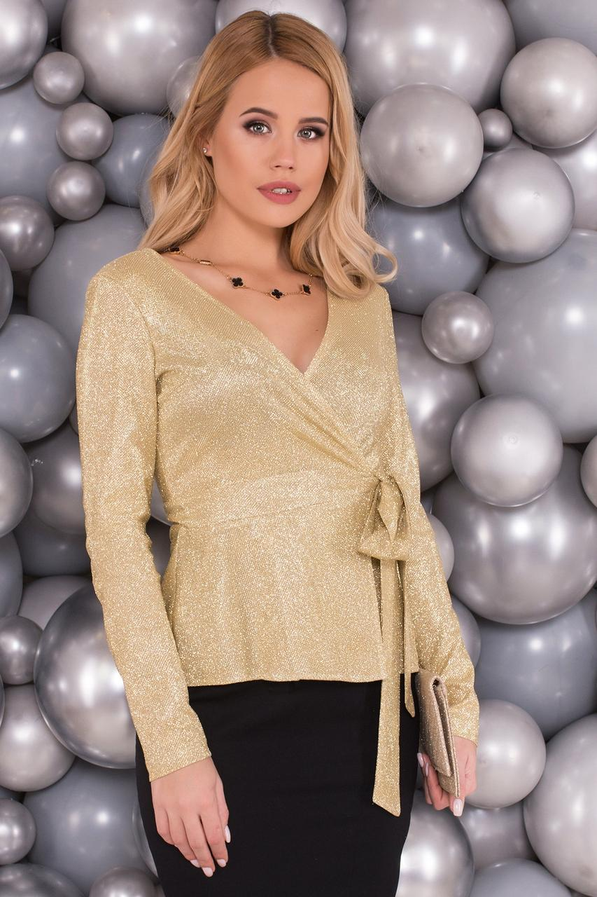 Нежная и элегантная блуза на запах (S, M, L) золотая