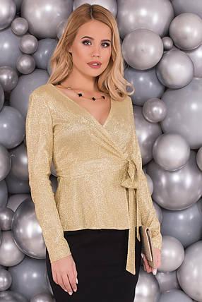 Нежная и элегантная блуза на запах (S, M, L) золотая, фото 2