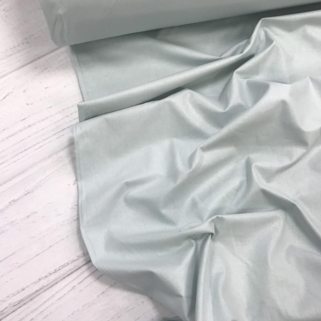 Хлопковая ткань однотонная светло-мятная (плот. 135 г/м.кв) №321