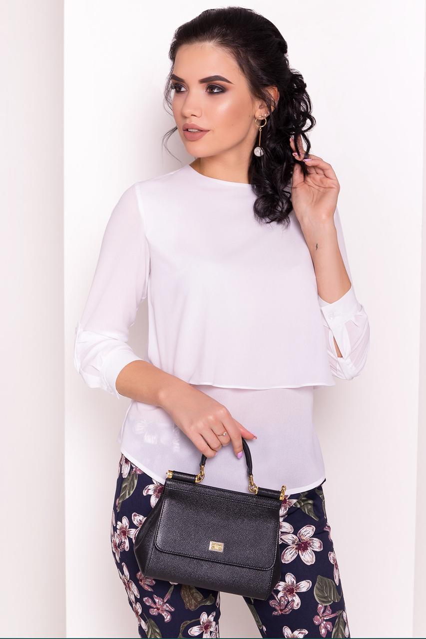 Многослойная женская блуза с длинным рукавом (S, M, L) белая