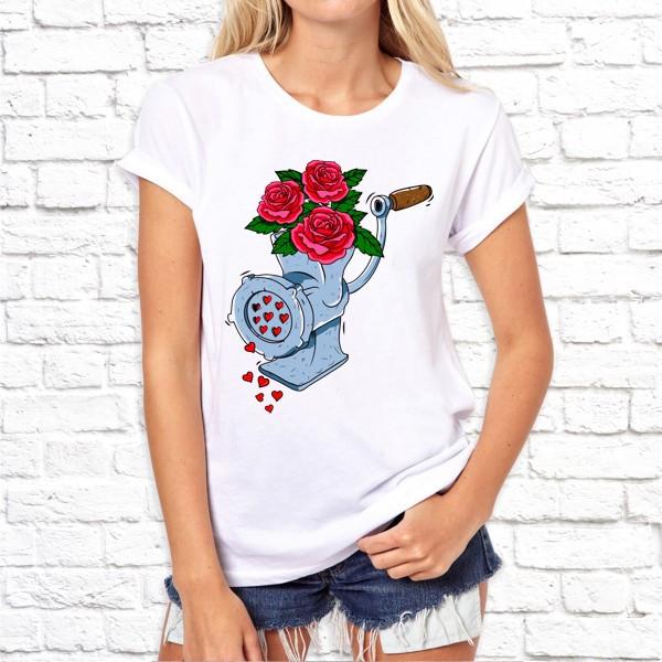 """Женская футболка Push IT с принтом """"Розы в мясорубке"""""""