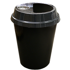 Урна-стакан чёрная и чёрная крышка с пепельницей, 108 л