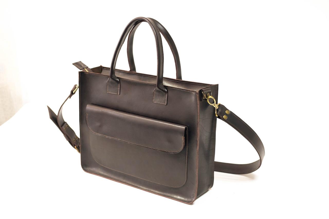 """Женская сумка """"Модель №35"""" Кожа Итальянский краст цвет Кофе"""