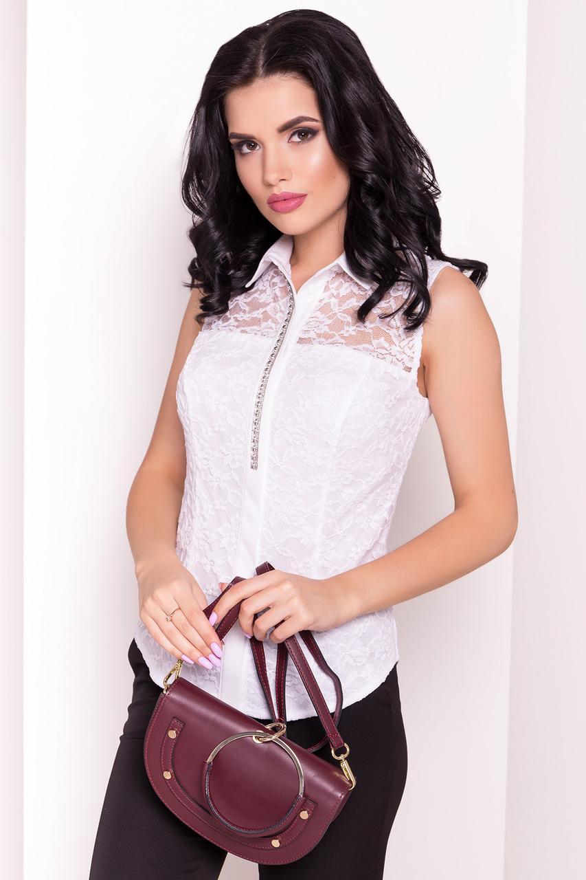Нежная кружевная женская блуза без рукавов (S, M, L) белая