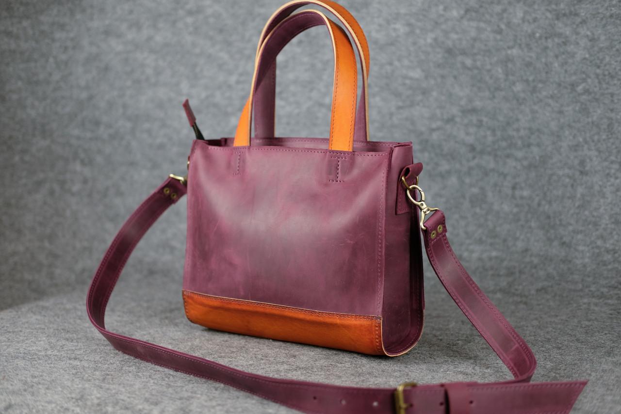 """Женская сумка """"Модель №36"""" Винтажная кожа цвет Бордо + Янтарь"""