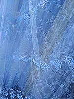 Турецкая тюль на фатине ширина 280 см сублимация узор 6 цвет белый