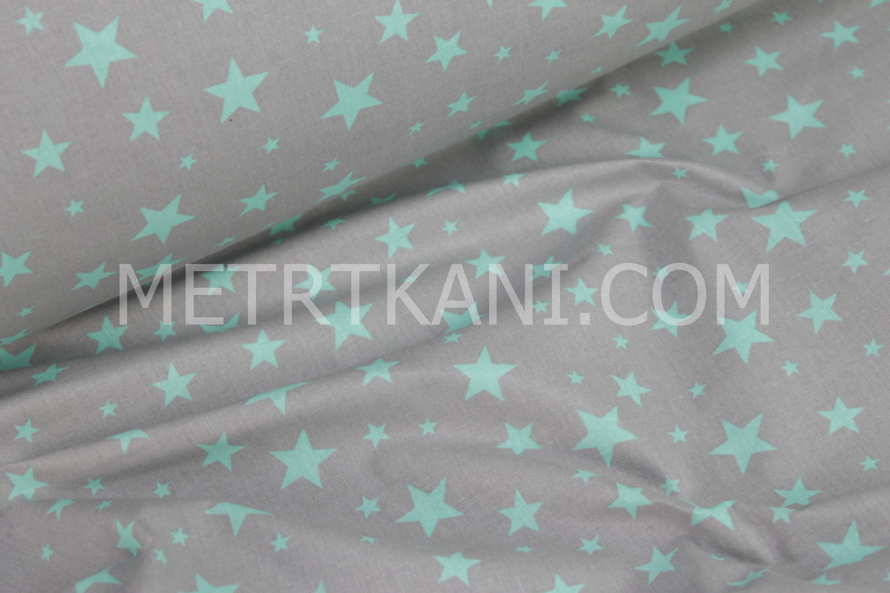 Ткань хлопковая звездопад  мятные звезды на сером фоне № 788