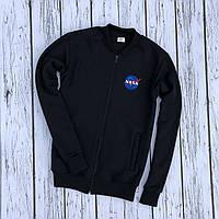 Кофта на замке трикотажная NASA black/ бомбер, фото 1