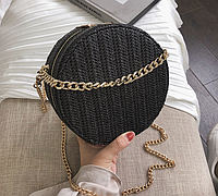 Плетеная круглая черная сумка