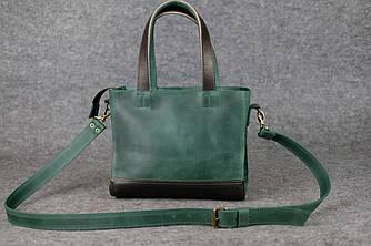 """Женская сумка """"Модель №36"""" Винтажная кожа цвет Зеленый + Кофе"""