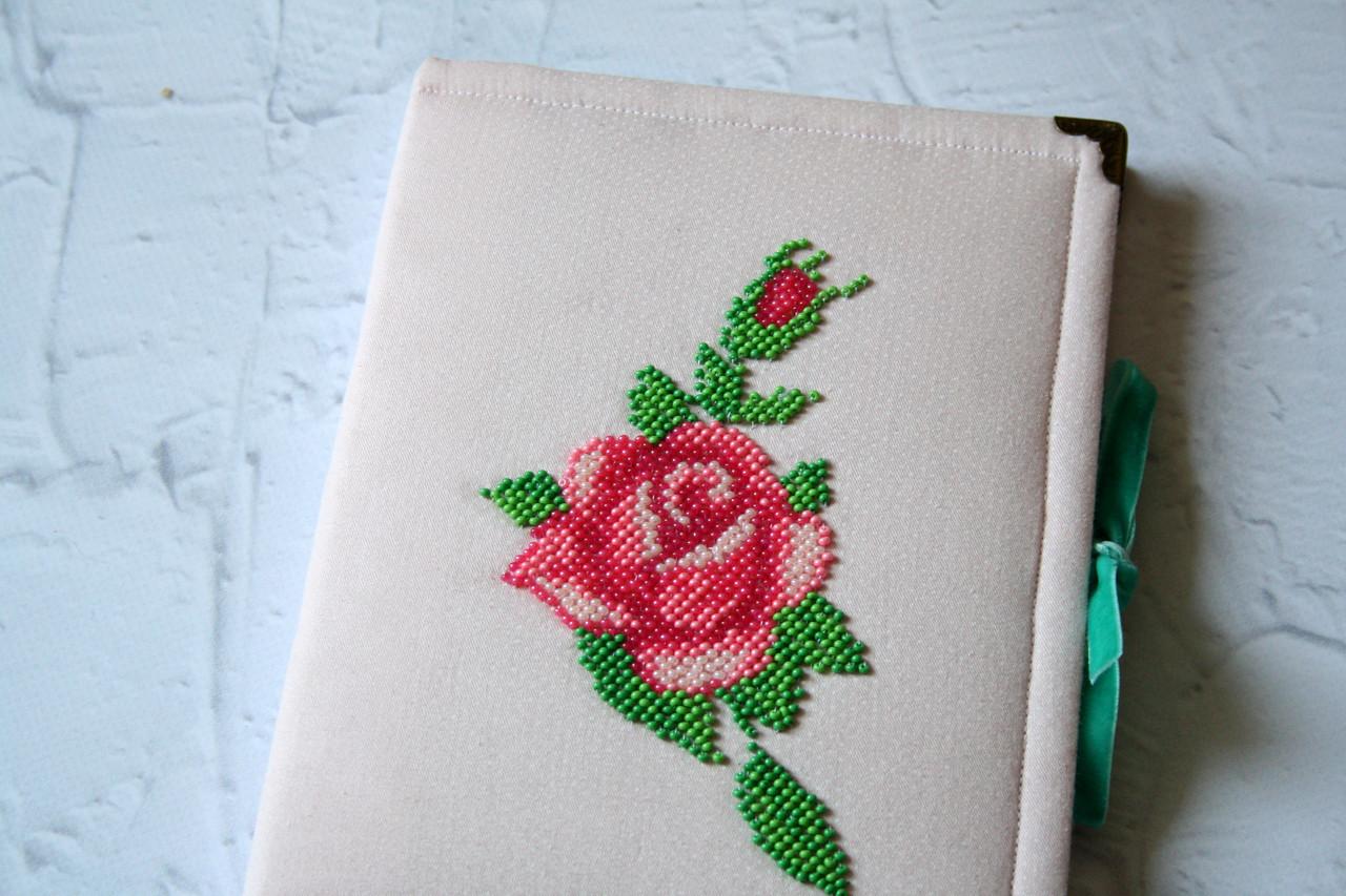 Оригинальный блокнот записная книга с вышивкой роза  девушке на подарок