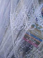 Турецкая тюль на фатине ширина 280 см сублимация узор 9 цвет белый, фото 1