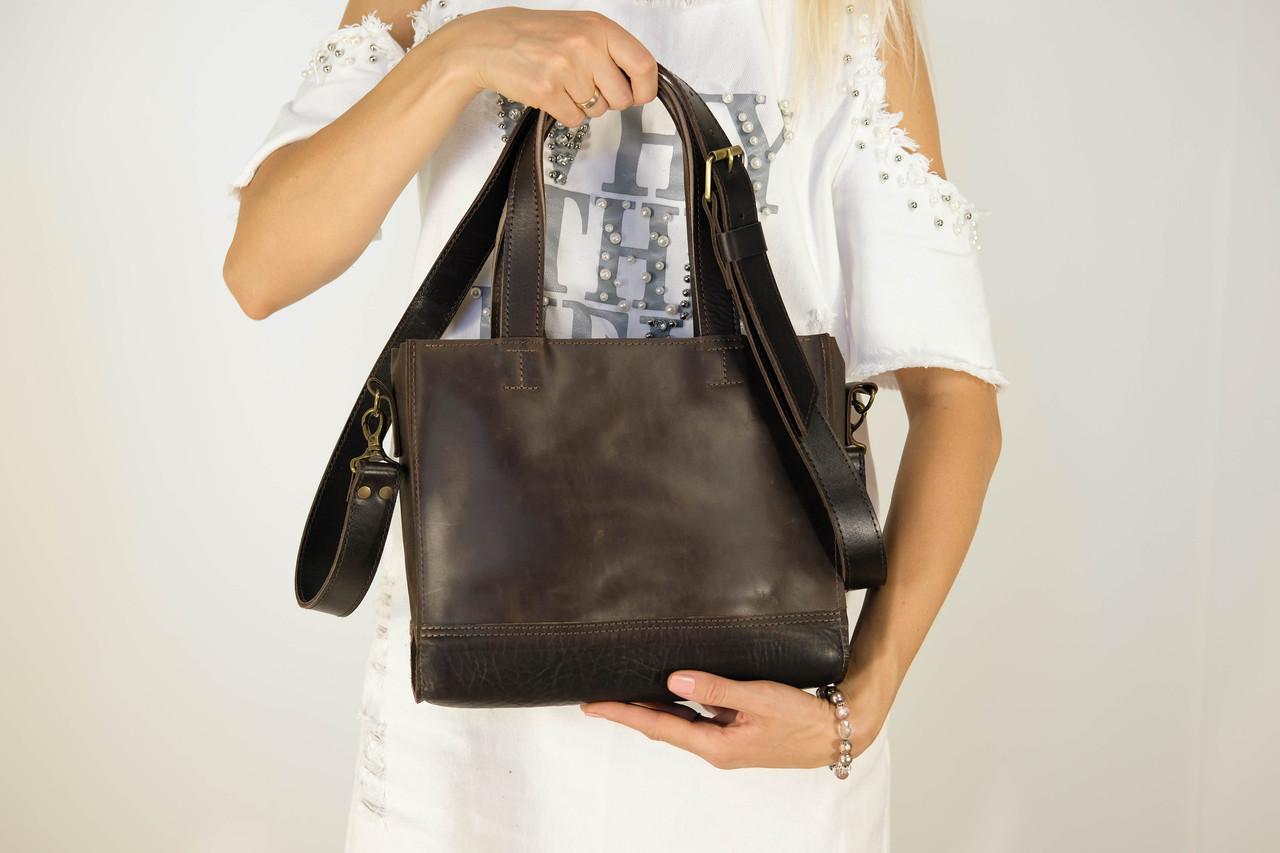 """Женская сумка """"Модель №36"""" Винтажная кожа цвет Шоколад + Кофе"""