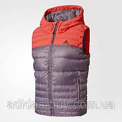 Женский оригинал жилет adidas COZY DOWN VEST артикул BP9395 цвет: красный/ коралловый